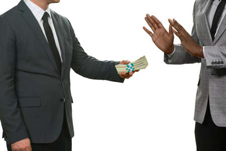 money packs: Black man refuses money. Accept no evil. Law-abiding citizen. Honesty and courage. Stock Photo