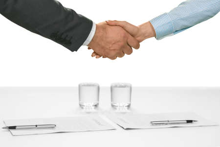 an ally: Manager and employee shake hands. Welcoming a new ally. Team has a new member. The company is becoming stronger.