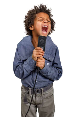 talented: Talented mulatto boy singing a high note