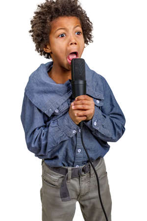comedian: Small showman comedian performs in concert with microphone Stock Photo