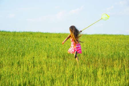butterfly net: Girl with a butterfly net catching butterflies.
