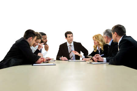 brightest: Businesspeople sitting at the table. Business meeting on white background. Teamwork as it is. Companys brightest minds.