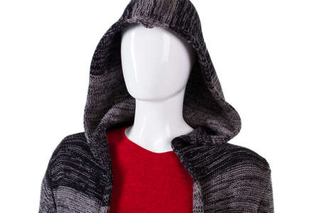 outerwear: Dark striped top with hood. Female mannequin wearing striped hoodie. Casual autumn outerwear for ladies. Warm hooded top on sale. Stock Photo