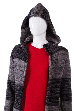 womans clothing: Striped hoodie over red sweater. Womans striped hoodie on mannequin. Soft clothing for cool season. Special offer at a discount. Stock Photo