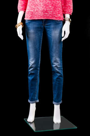 skinny jeans: Womans blue skinny fit jeans. Mannequin wearing blue skinny jeans. Quality denim pants on display. Best prices in fashion boutique.