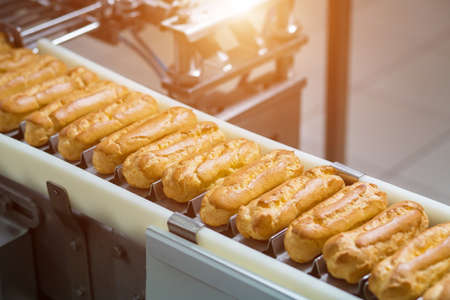 Narrow conveyor with eclairs. Pastry laying on conveyor belt. Complex mechanism for food production. Industry is progressing.