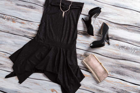 sleeveless dress: Black sleeveless dress with shoes. Small silver purse and jewelry. Exclusive custom-made necklace. Most expensive merchandise. Stock Photo