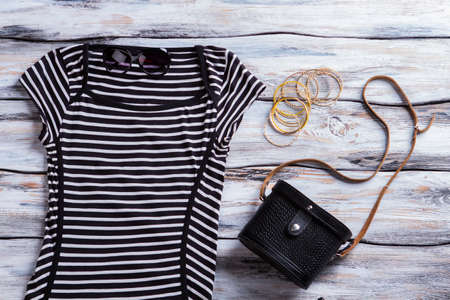 Black striped dress and sunglasses.