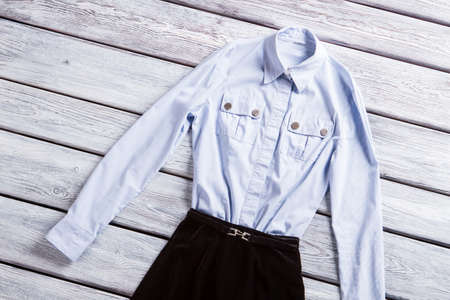table skirt: Light blue shirt with pockets. Casual long sleeve shirt. Light top and dark bottom. Clothes from top rated seller.