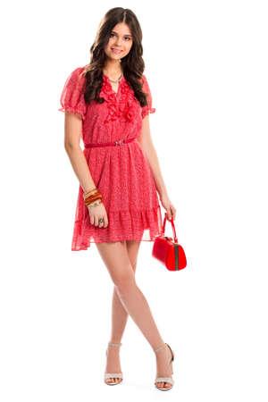 Mujer En Vestido Rojo De Verano La Chica Joven Está Sonriendo Modelo De Manera Atractivo Look Casual Elegante