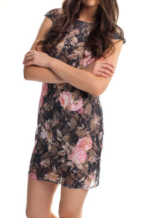 lining: Lady in black floral dress. Dark dress with pink print. Short sleeve dress with lining. Beautiful evening garment.
