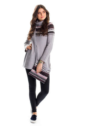 long pants: Lady in long gray pullover. Black slip ons and pants. Casual clothing for autumn. Outfit with trendy footwear.