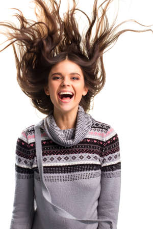 flying hair: Woman with flying hair.