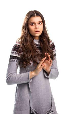 terrified: Terrified girl on white background.