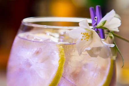 Transparent beverage in glass. Little white flower. Unforgettable taste of tom collins. Cold cocktail with gin. Stock Photo