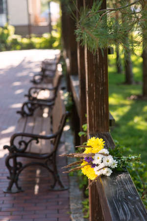 warmth: Bouquet on wooden fence. Light colored flowers. Smell of camomiles. Purity and warmth. Stock Photo