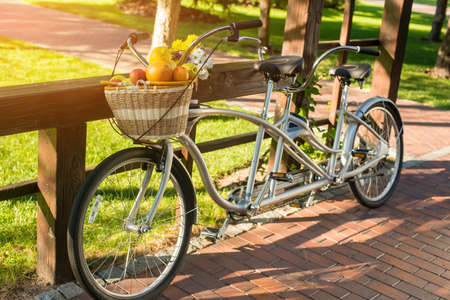 Tandem bicycle in the park. Wicker basket with fruits. Spend weekend in open air. Enjoy rest and save health. Zdjęcie Seryjne