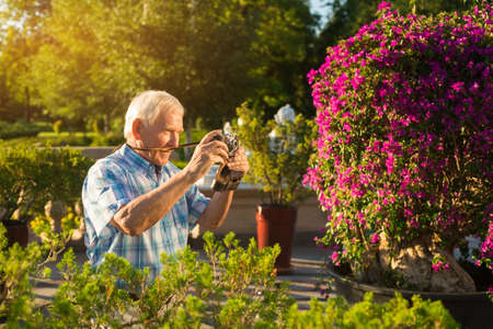 more mature: Senior man with camera. Elderly male outdoor. Grandpa found a new hobby. Impressive photos of nature. Few more pictures. Stock Photo