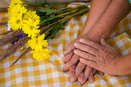 Hands of senior couple. Bouquet on checkered cloth. Best gift of fate. Ill take care of you.
