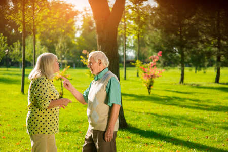 paciencia: El hombre apunta con el dedo a la señora. La gente en el fondo del parque. Que está probando mi paciencia. Cansado de las peleas.