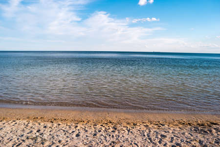warm climate: Seashore and sky. Water and sand. Good place for summer vacation. Warm climate of tropics. Stock Photo