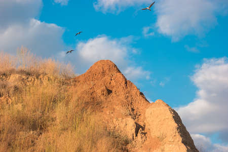 Birds flying over mountain. Blue cloudy sky and rock. The priceless gift of freedom. Spread your wings.