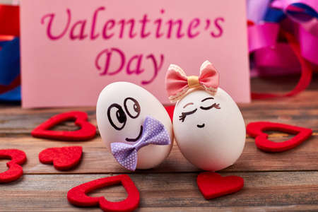 Valentines Day card, eggs, hearts. Faced eggs with bow ties. How to make cute present.
