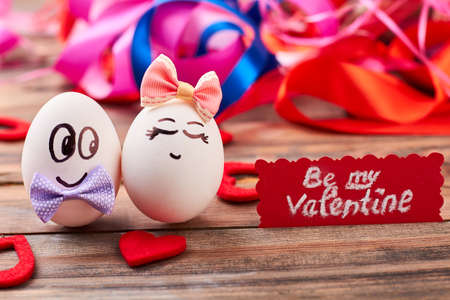 beguin: Be my Valentine card. Love eggs, hearts, colorful backdrop. How to invite a girl.