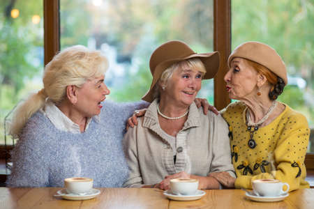 Three senior ladies in cafe. Women talking to each other. The best friends.