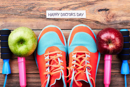 Apples, gumshoes and jump rope. Best regards on Doctors Day.