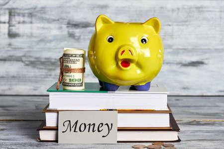 ganancias: Roll de dólares y moneybox. Ganar dinero para la educación.