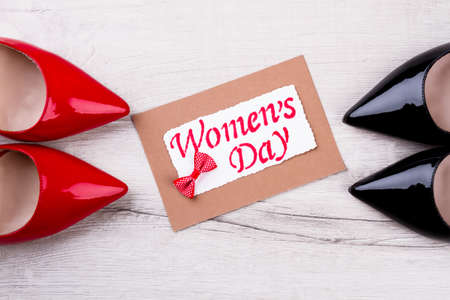 Shoes bow tie and postcard womans day greeting card congratulate shoes bow tie and postcard womans day greeting card congratulate and give m4hsunfo