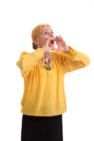Old woman shouting. Lady holds hands near mouth. Encourage and motivate.