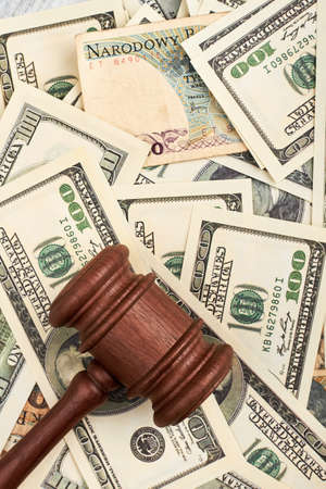 American dollars and gavel. Say No to corruption.
