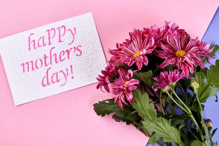 Chrysanthemum on pastel surface. Send your love. Stock Photo