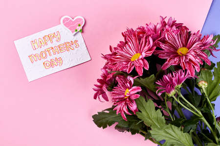 Chrysanthemums and greeting card. Gift for mother with love. Stock Photo