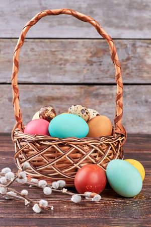Willow branches and dyed eggs. Wicker Easter basket.