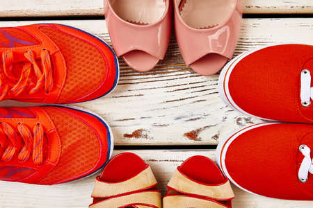 Several types of womens shoes. Spending time outdoors. Zdjęcie Seryjne