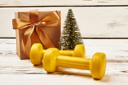 Dumbbells, Christmas tree and present. New body for new year.