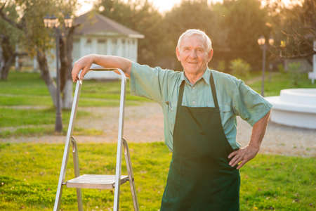 Old gardener smiling. Man with stepladder outdoors.