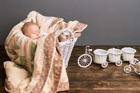 Sleeping baby and blanket. Tricycle flower basket on wood.