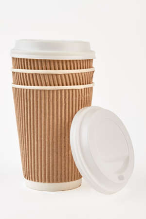 Pure kraft ripple paper cup. Empty wrapped paper cups. Portable and convenient cup for tea.