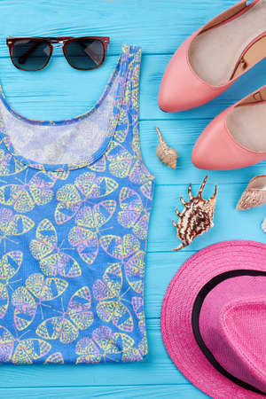 Marine fashion style set. Bright lady accessories for beach, vintage background. Stock Photo