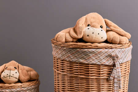 splint: Round willow laundry basket. Soft toy dog. Household items shop.