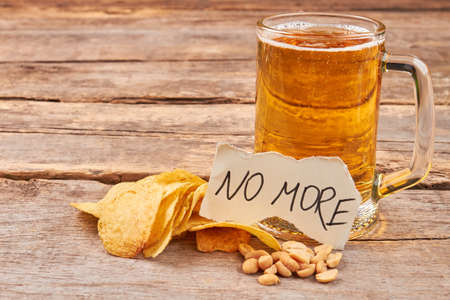 gastro: No more beer abuse. How to overcome beer addiction. Stock Photo