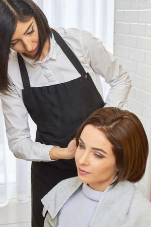 hair stylist: Hairdresser and her customer. Young short haired woman. Hair stylist job advertisement.
