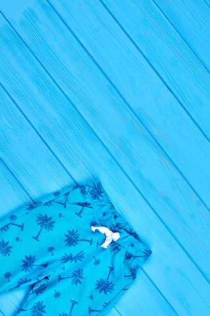 Casual cotton toddlers summer pants. Blue pockets palm print baby summer leggings and copy space. Top view of infant baby summer clothing.