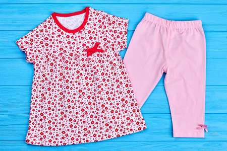Toddler girls cotton wear. Little girl summer dress and cotton breeches. Beautiful natural kids clothing on sale.