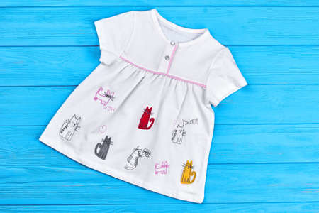 Infant girl dress with a pattern of cats. Embroidery cat animal girl dress princess. Newborn girl adorable summer dress.