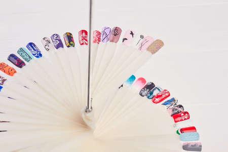 salon background: Manicure nail color design samples. Set of beautiful nails art samples. Nail art design set.